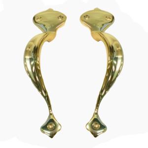 Art Nouveau Brass Pull Handles