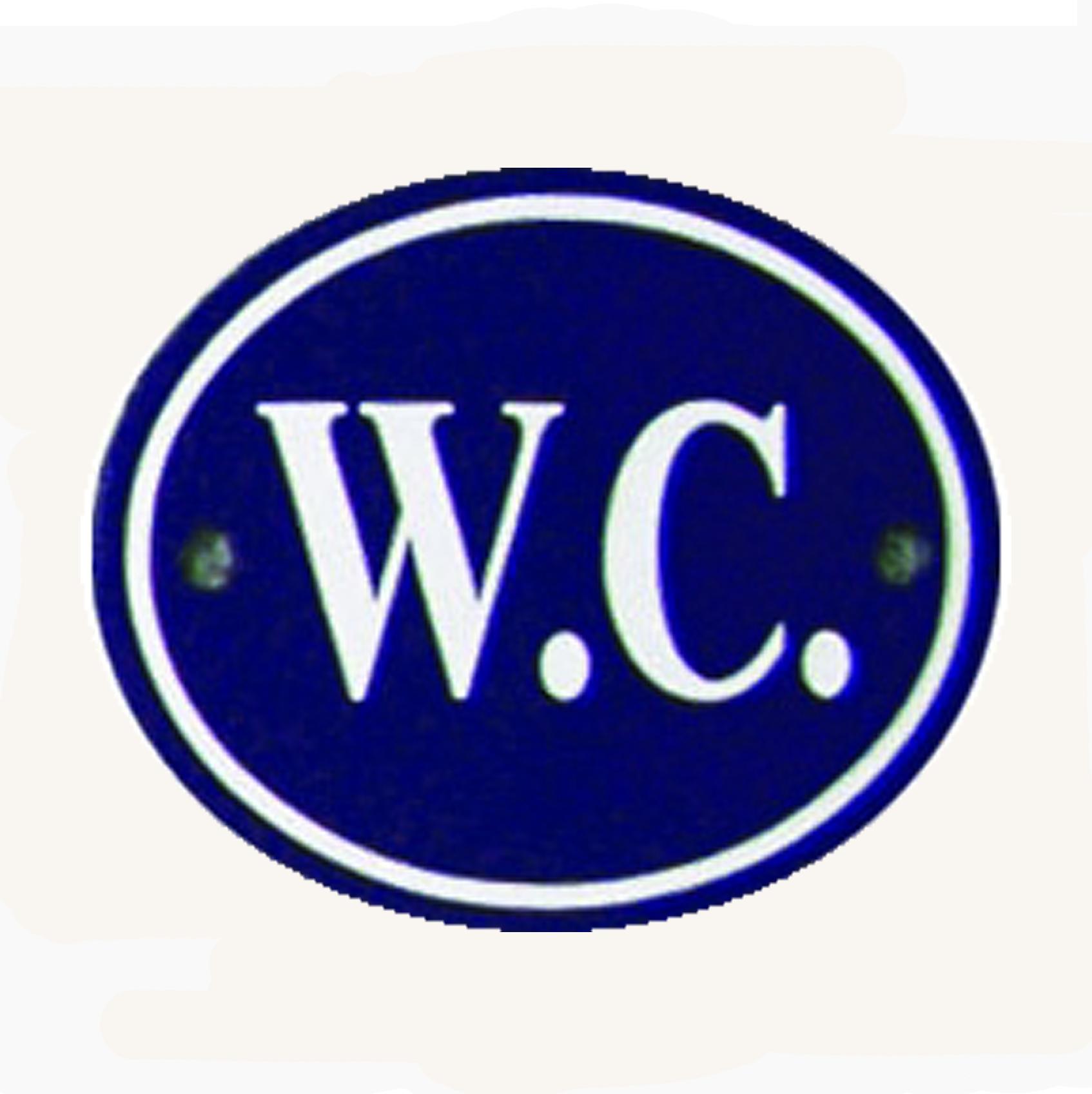 Blue & White Enamel WC Sign