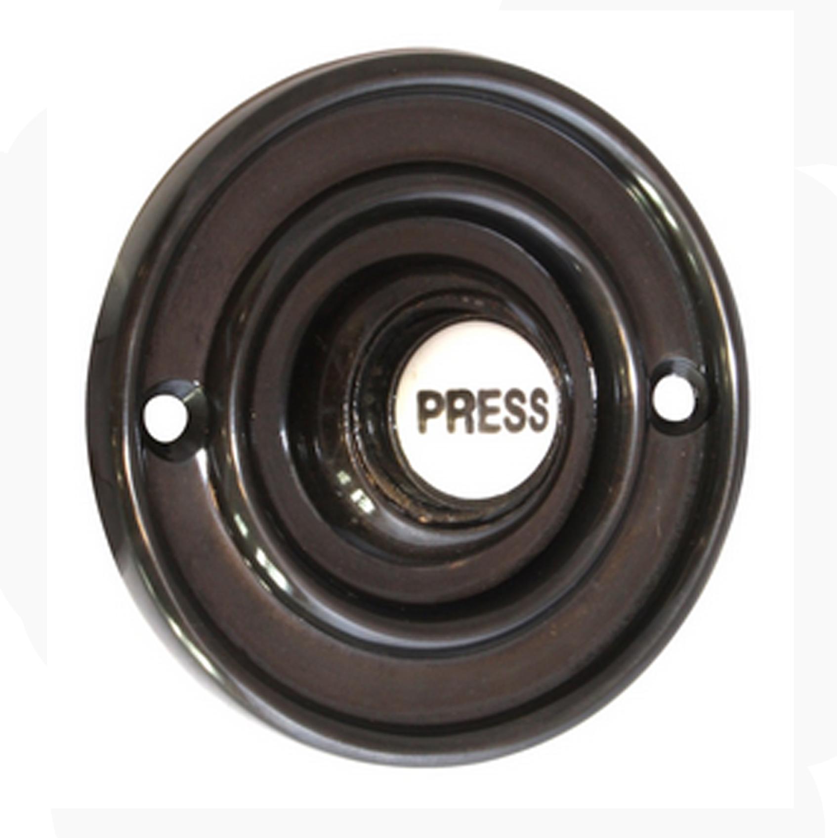 Victorian black doorbell 100mm dia