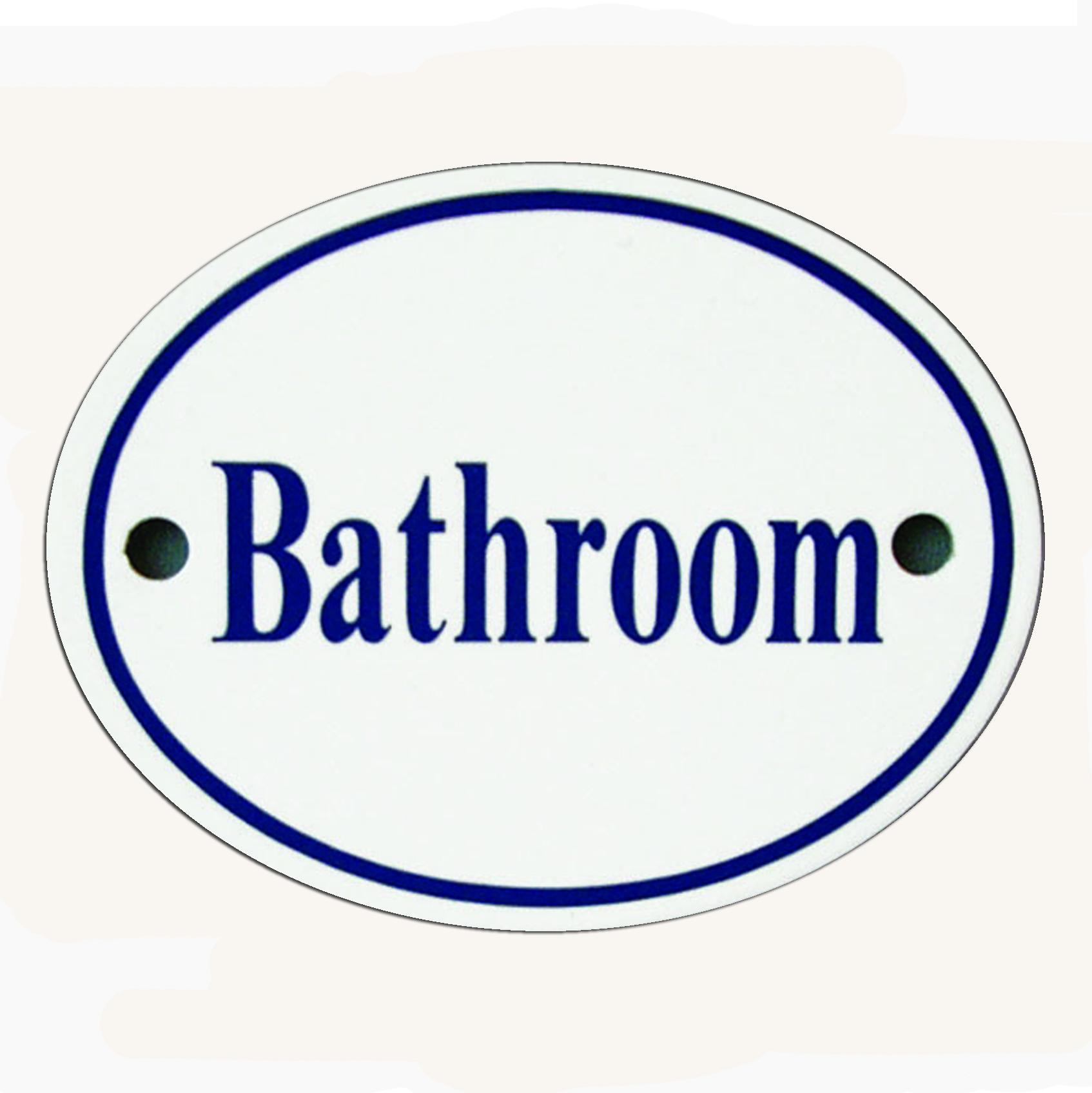 White & Blue Enamel Bathroom Sign