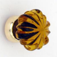 Amber Glass Cupboard Knob