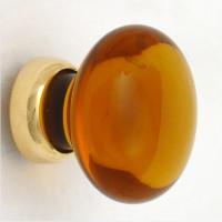 Amber Smooth Glass Cupboard Knob