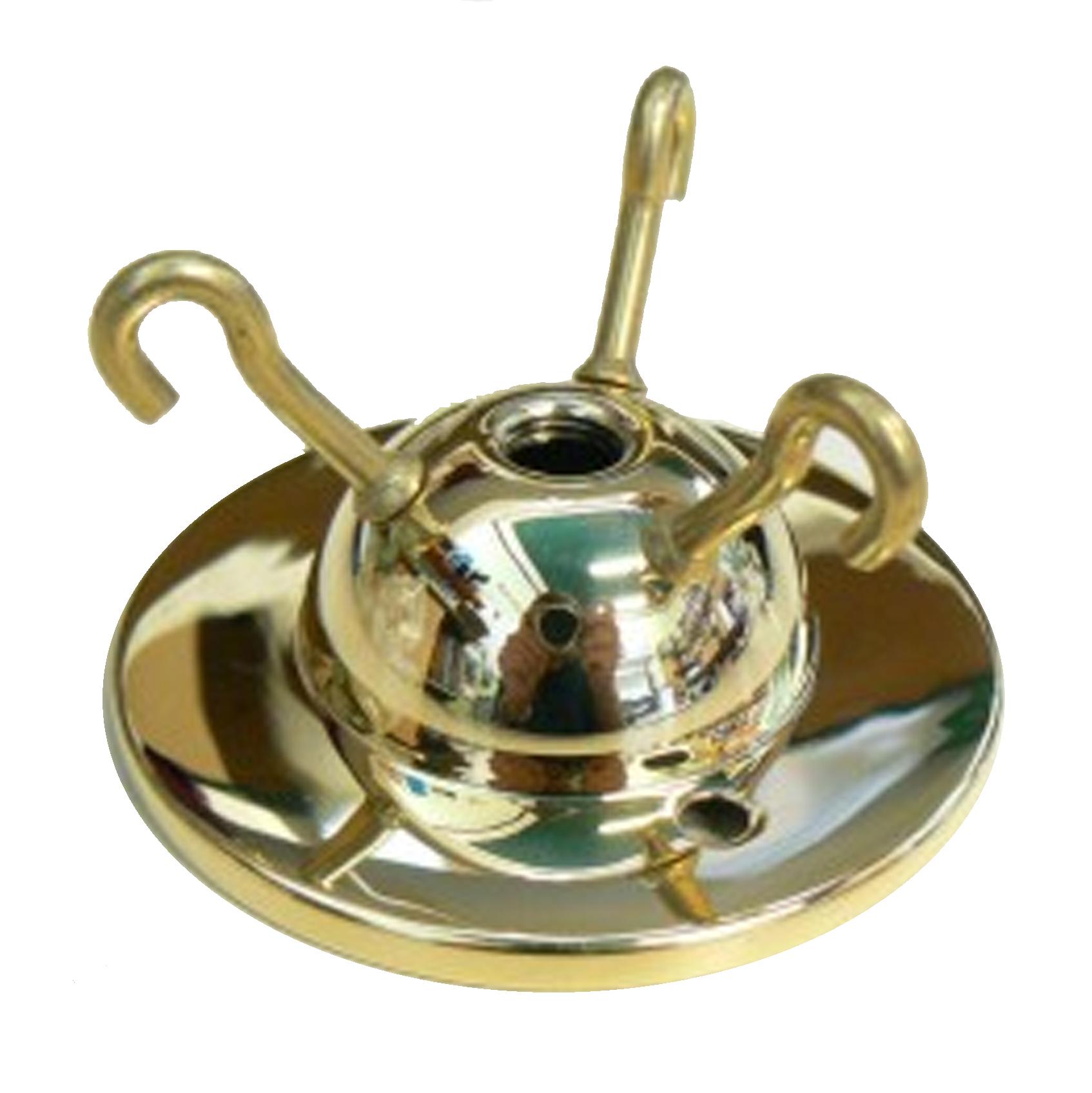 Brass Ceiling Rose Triple Hook