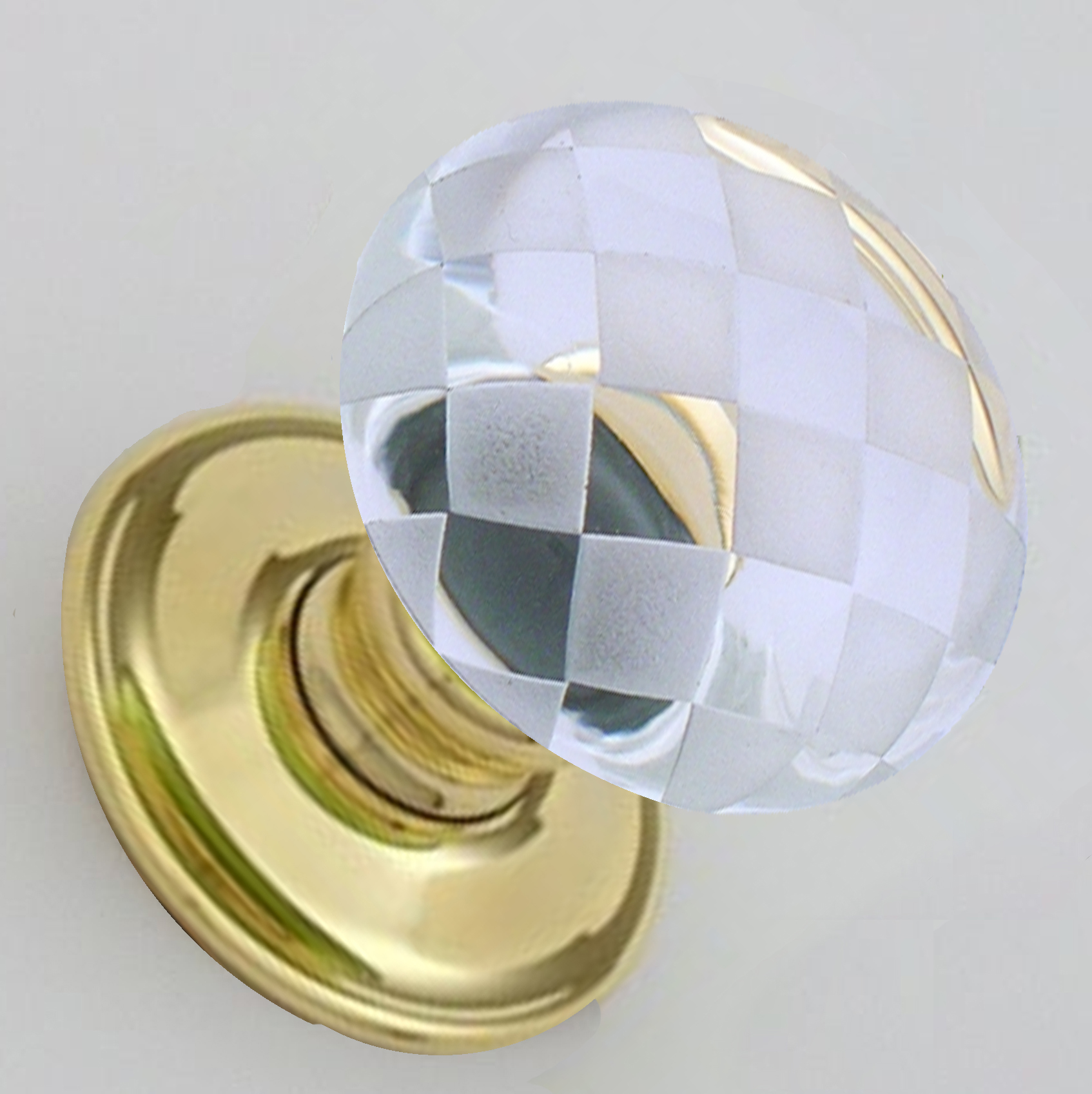 Clear Glass Chequerboard Door Knobs