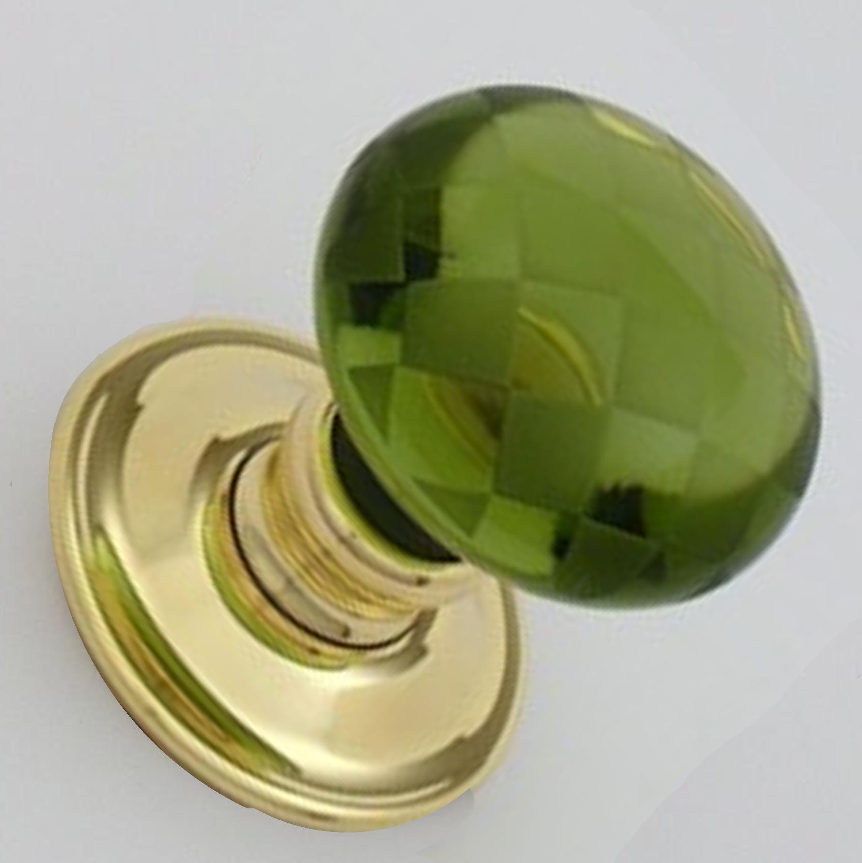 Green Glass Chequerboard Door Knobs