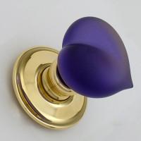 Pair Amethyst Glass Love Door Handles