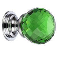 Green Glass Facetted Cupboard Knob