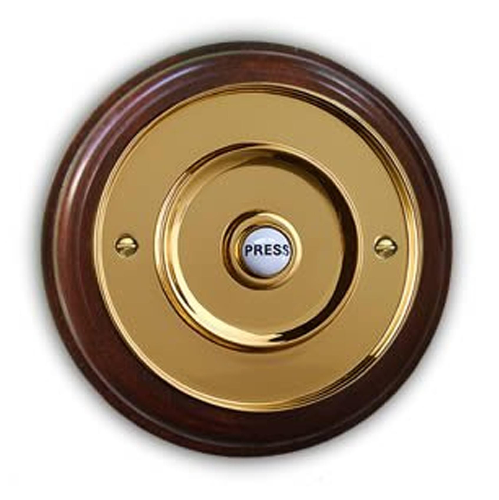 76mm Brass Door Bell on Mahogany Plinth