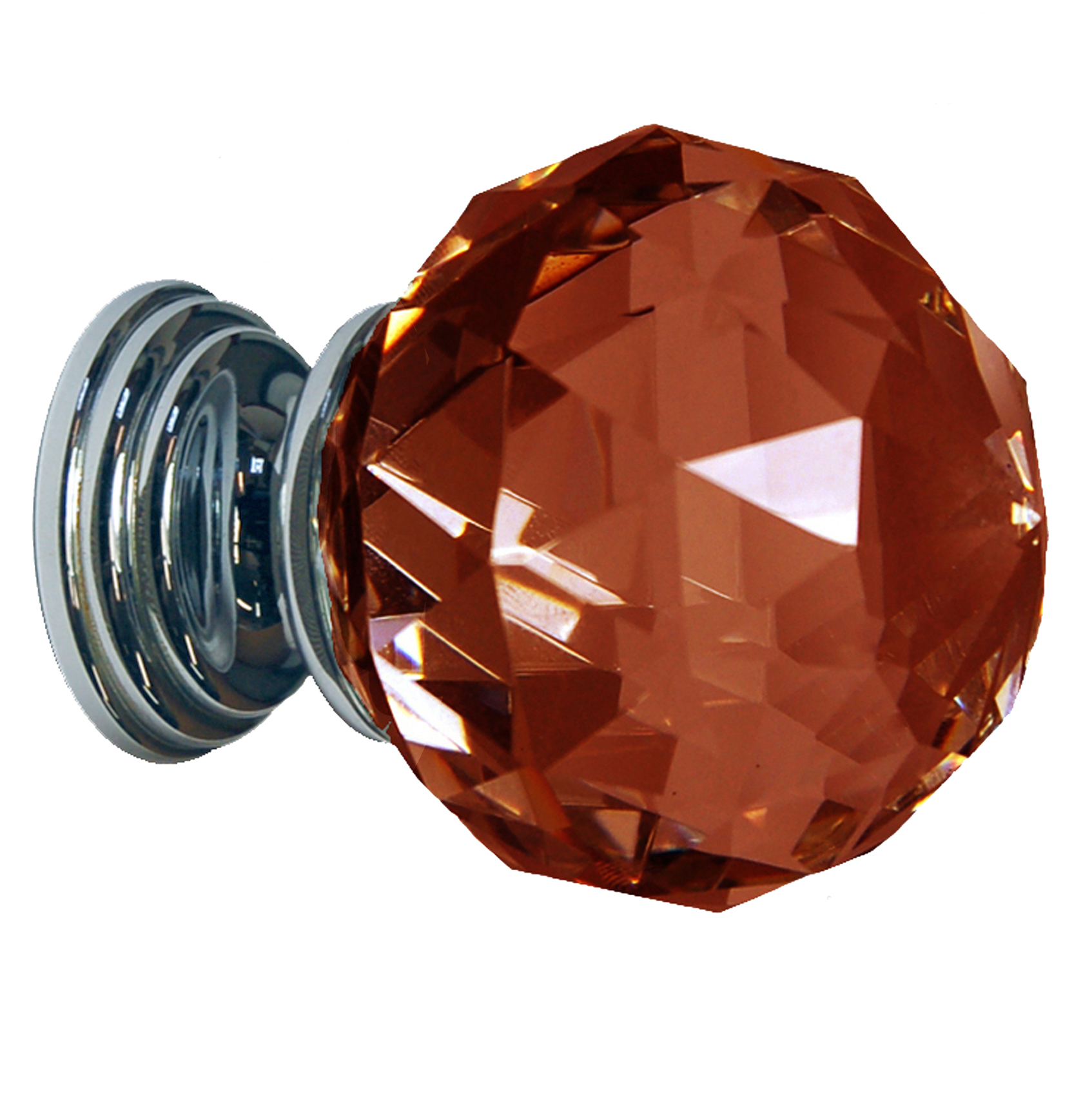 Dark Amber Crystal Knob Polished Chrome Base