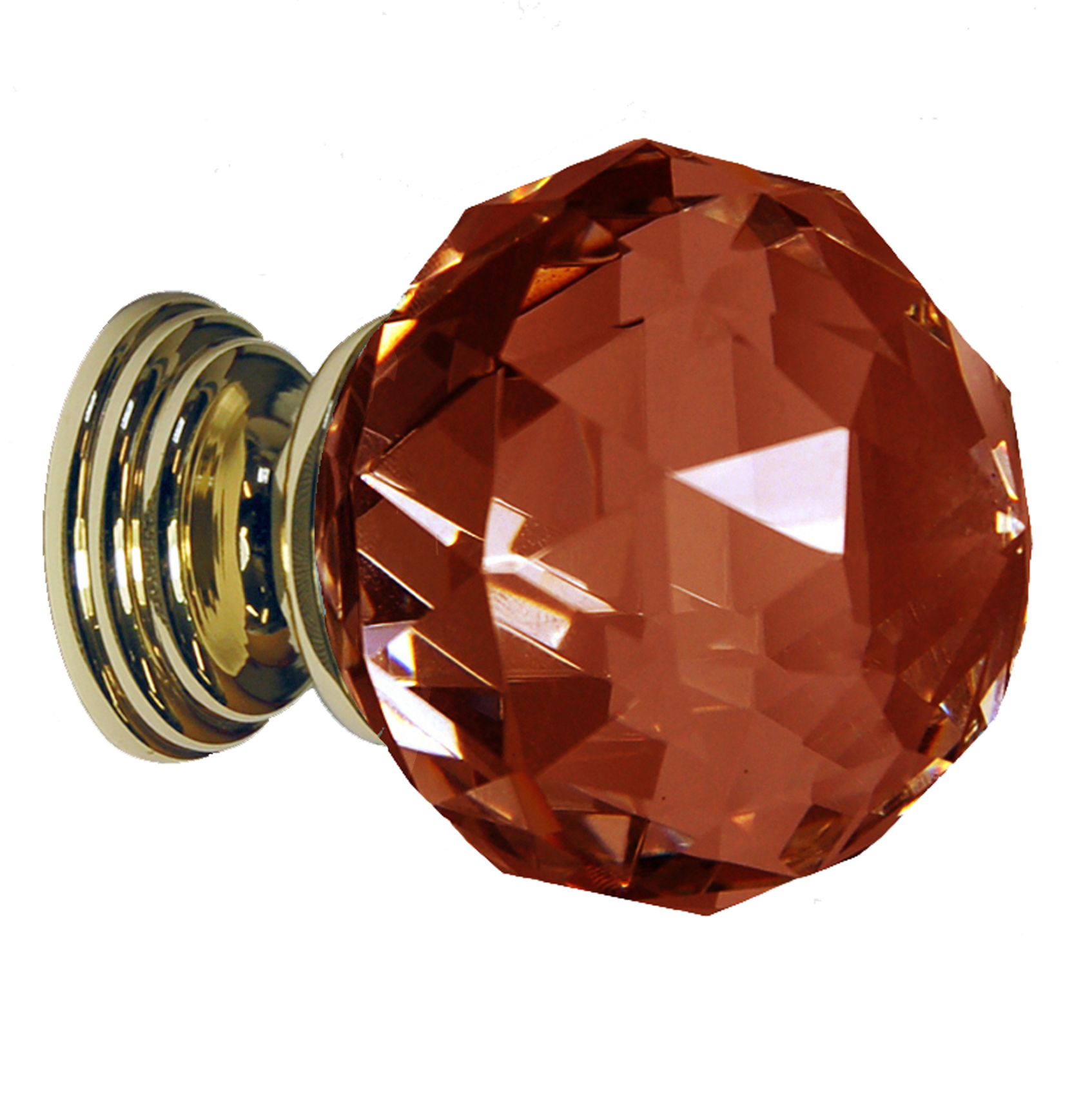 Dark Amber Crystal Knob Polished Gold Base